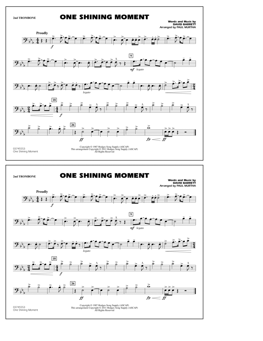 One Shining Moment - 2nd Trombone