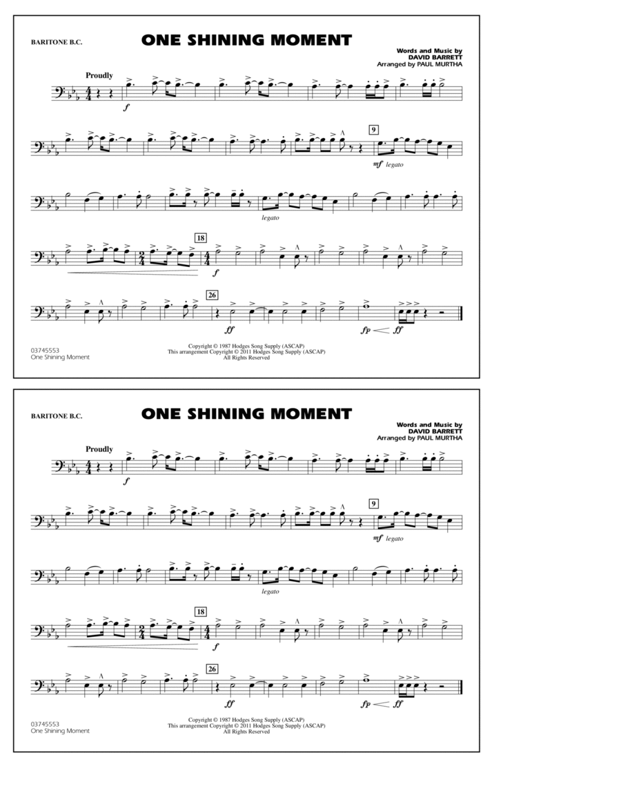 One Shining Moment - Baritone B.C.