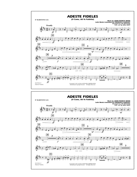 Adeste Fideles (O Come, All Ye Faithful) - Eb Baritone Sax