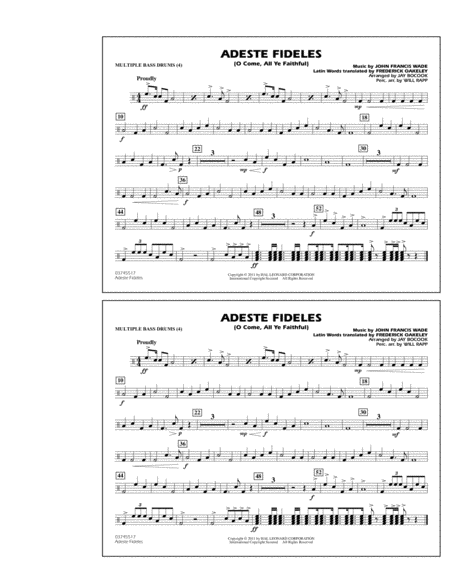 Adeste Fideles (O Come, All Ye Faithful) - Multiple Bass Drums