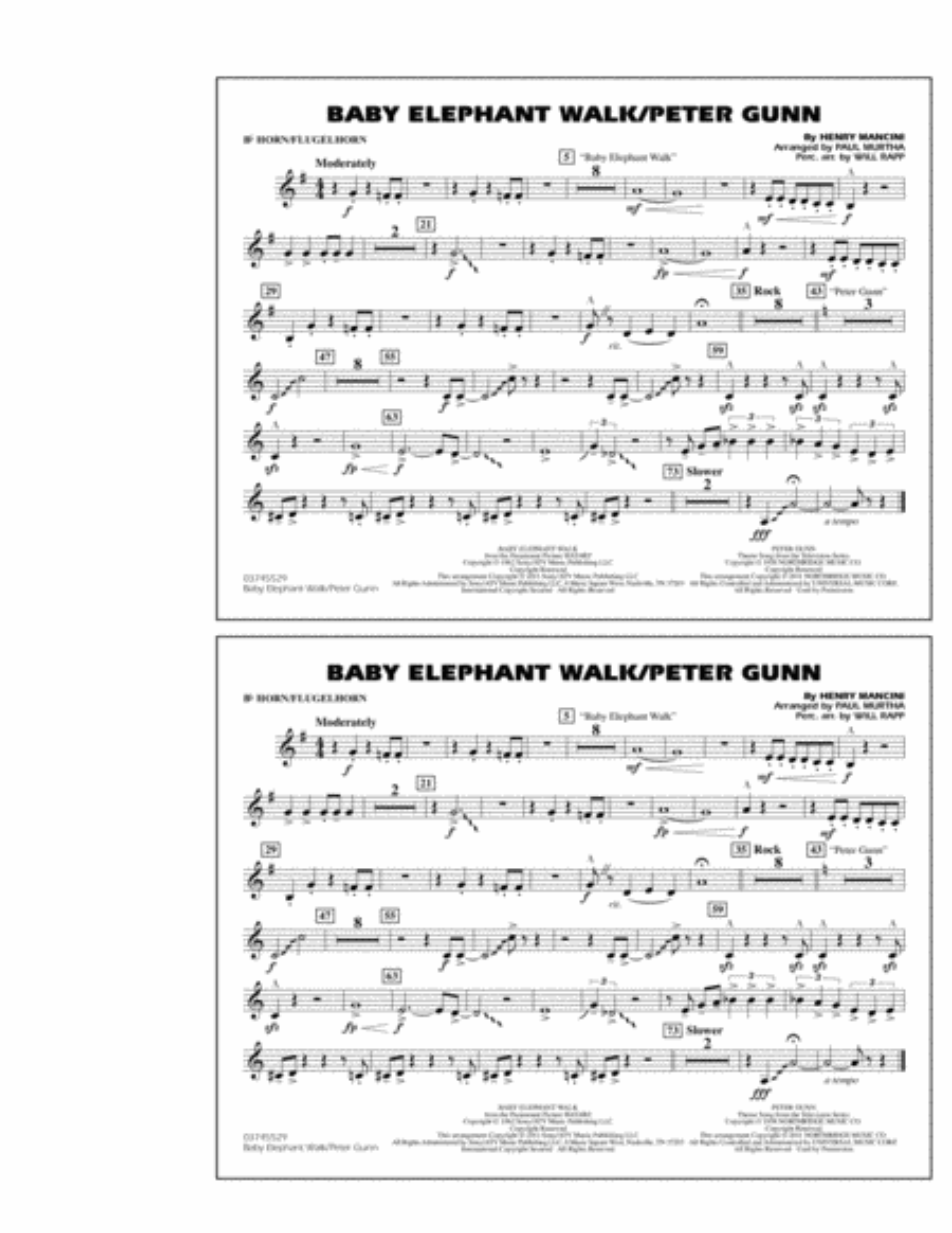 Baby Elephant Walk/Peter Gunn - Bb Horn/Flugelhorn