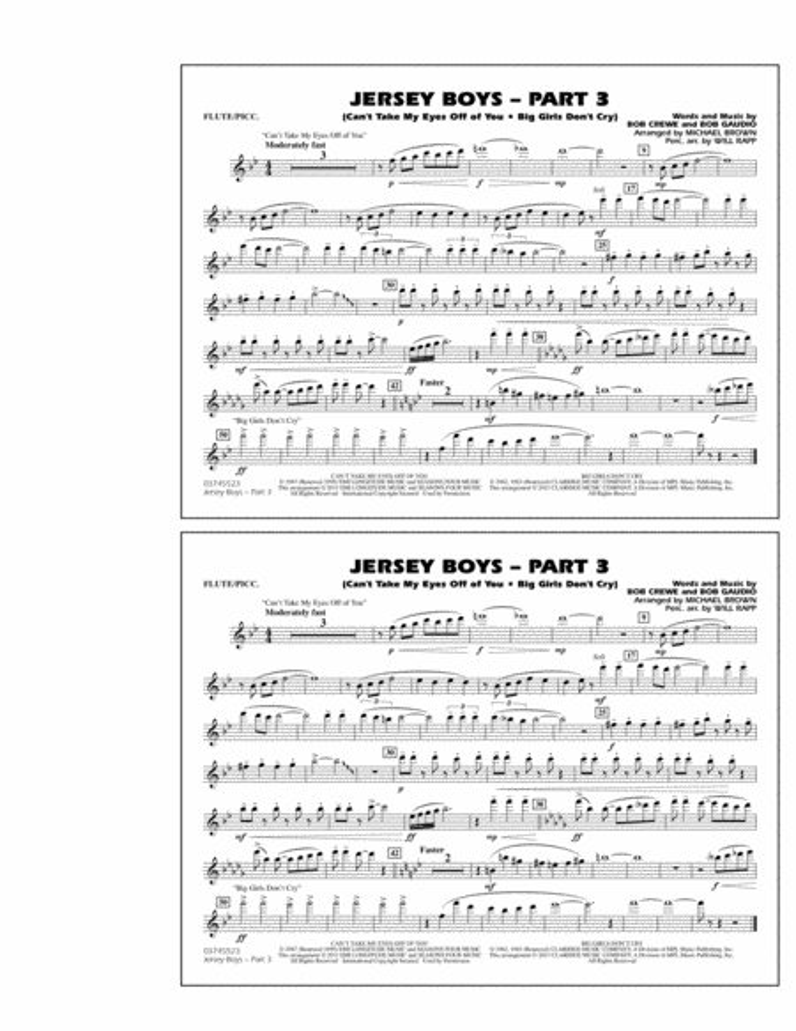 Jersey Boys: Part 3 - Flute/Piccolo