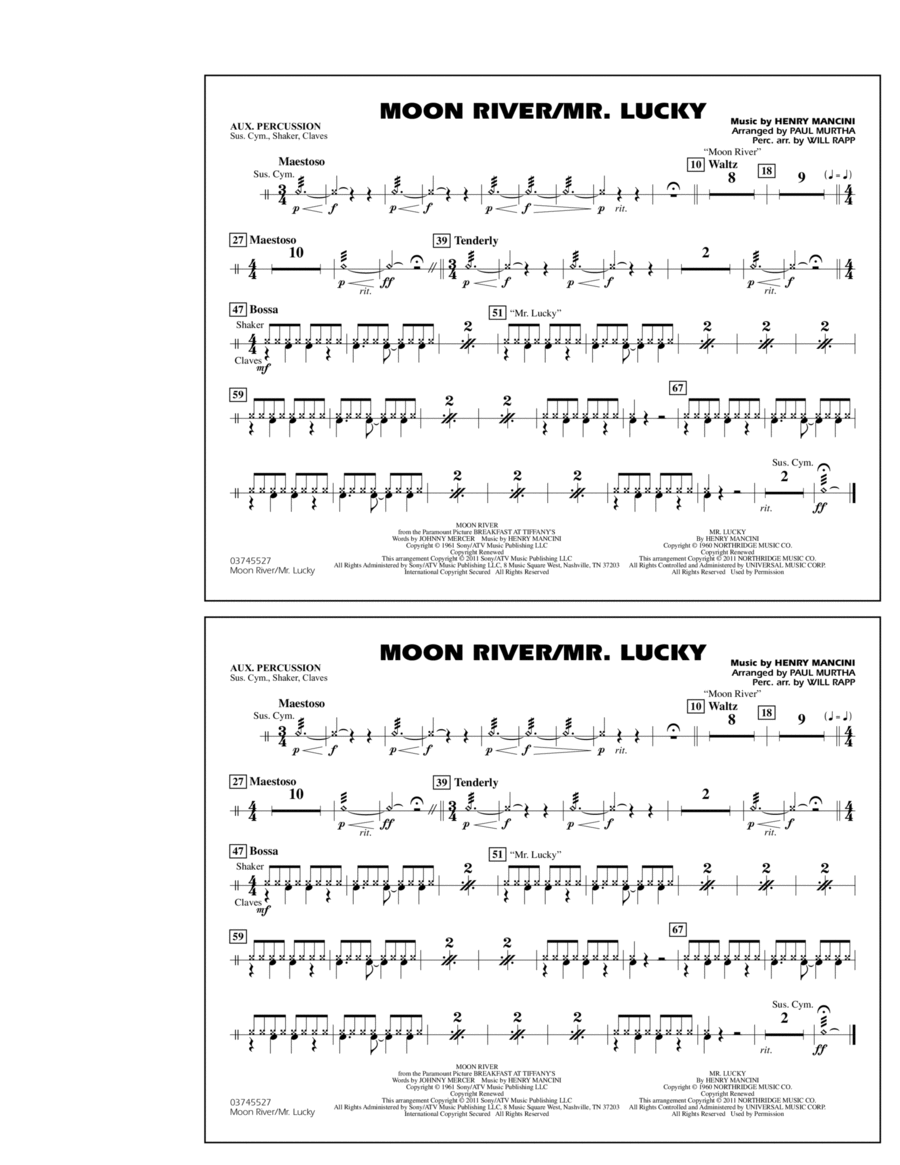 Moon River/Mr. Lucky - Aux Percussion
