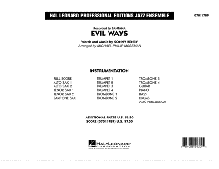 Evil Ways - Conductor Score (Full Score)