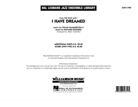I Have Dreamed - Conductor Score (Full Score)