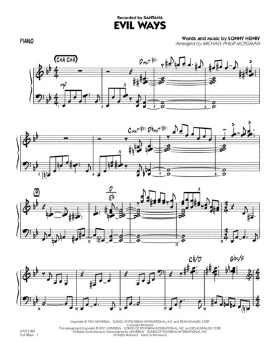 Evil Ways - Piano