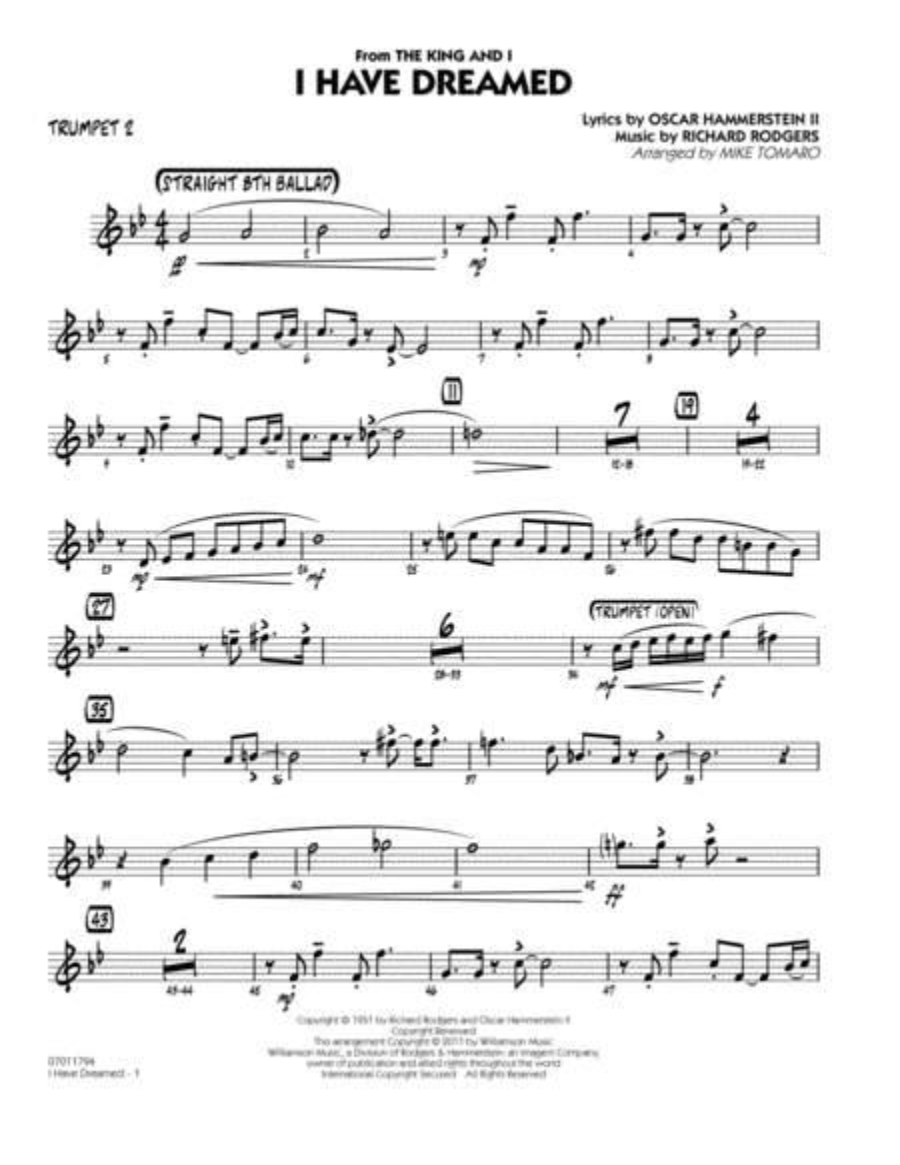 I Have Dreamed - Trumpet 2