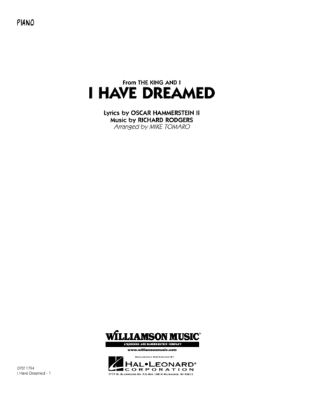 I Have Dreamed - Piano
