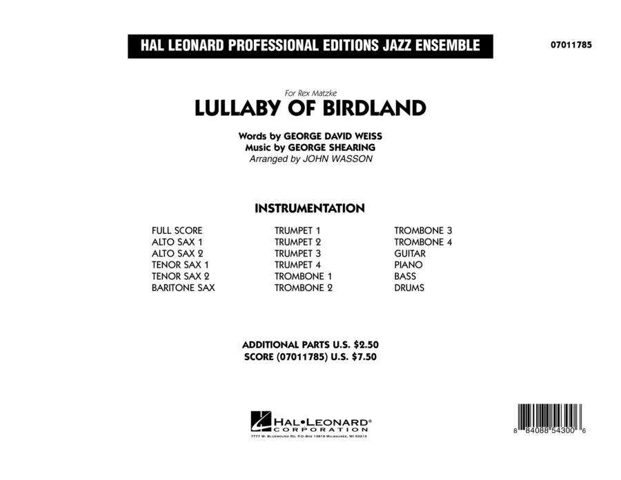 Lullaby Of Birdland - Conductor Score (Full Score)