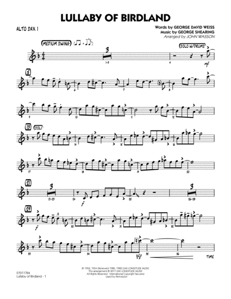 Lullaby Of Birdland - Alto Sax 1