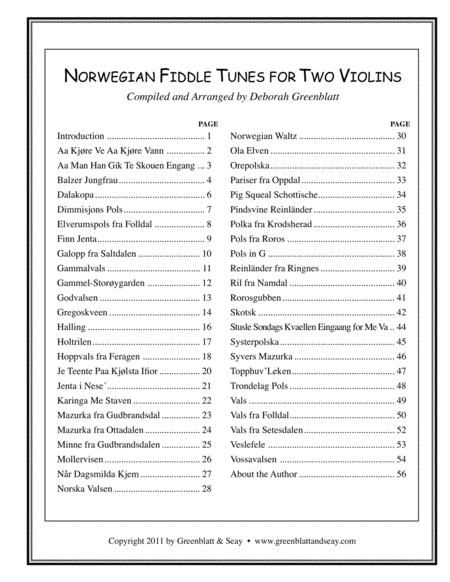 Norwegian Fiddle Tunes for Two Violins