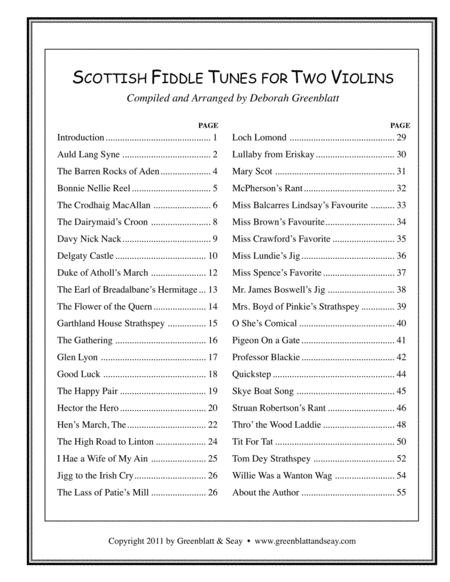 Scottish Fiddle Tunes for Two Violins