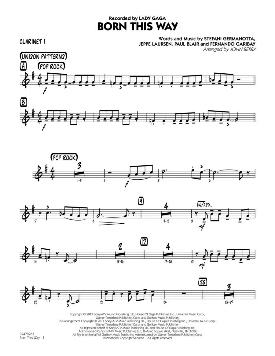 Born This Way - Bb Clarinet 1