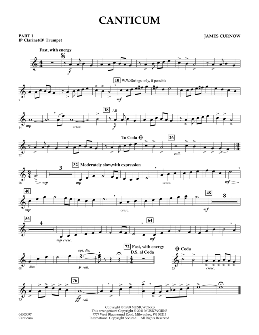 Canticum - Pt.1 - Bb Clarinet/Bb Trumpet