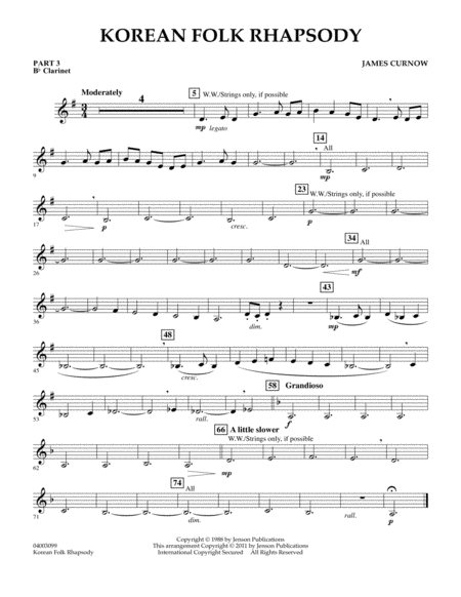Korean Folk Rhapsody - Pt.3 - Bb Clarinet