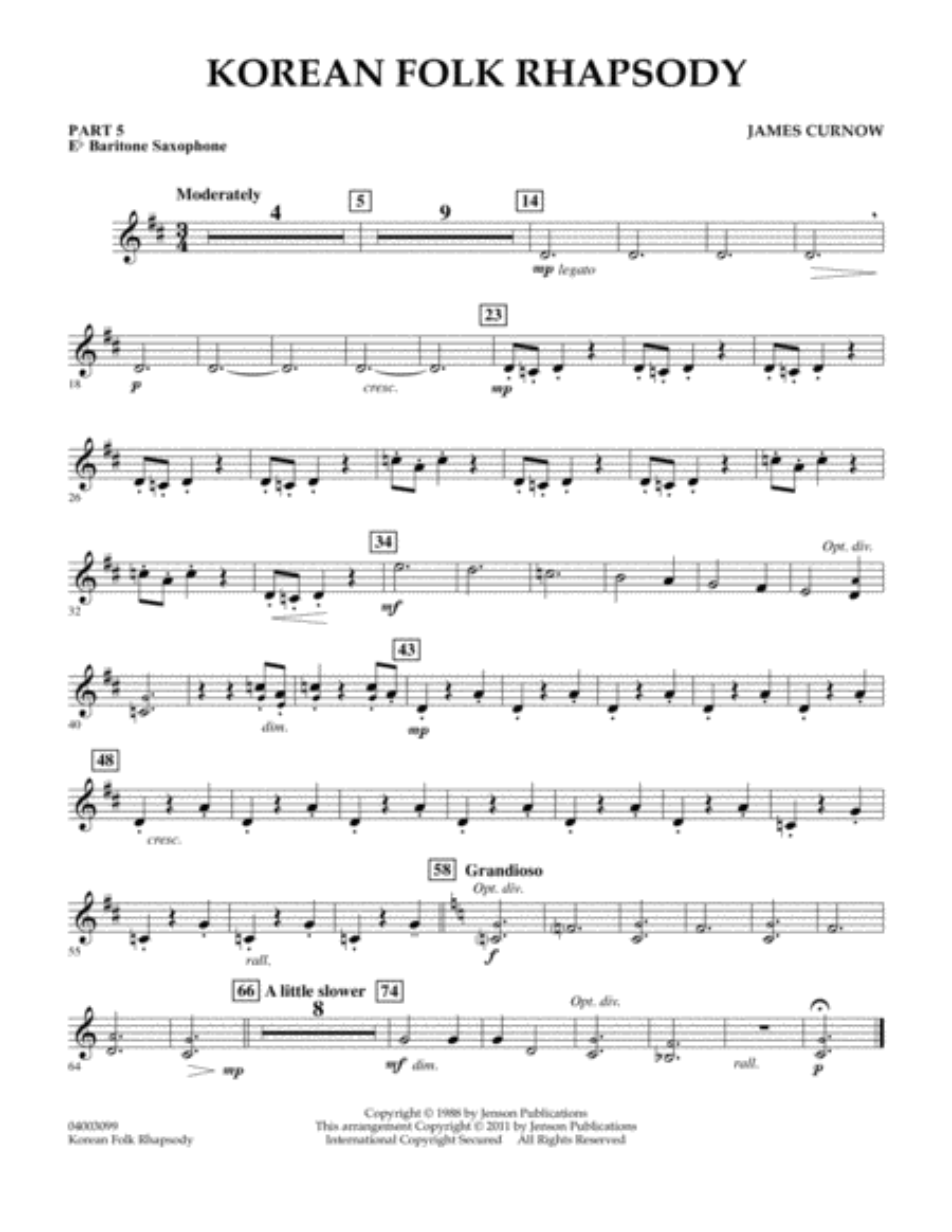 Korean Folk Rhapsody - Pt.5 - Eb Baritone Saxophone