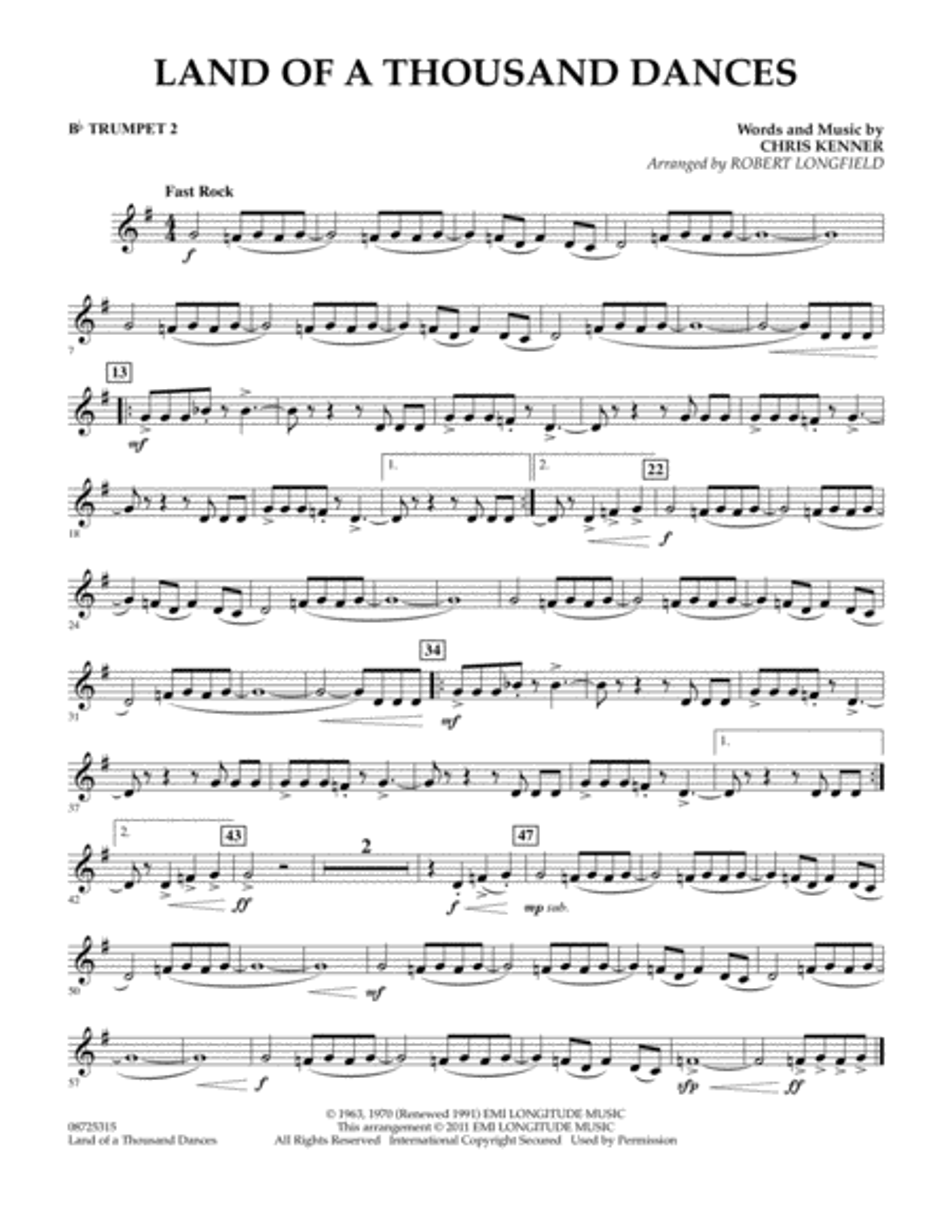 Land Of A Thousand Dances - Bb Trumpet 2