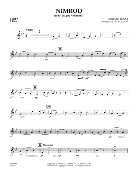 Nimrod (from Enigma Variations) - Pt.3 - F Horn
