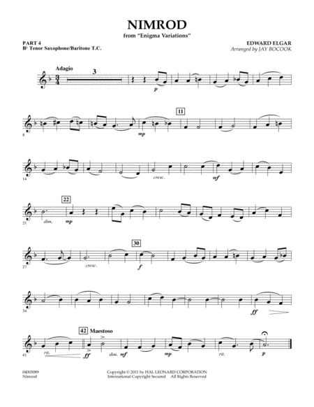 Nimrod (from Enigma Variations) - Pt.4 - Bb Tenor Sax/Bar. T.C.