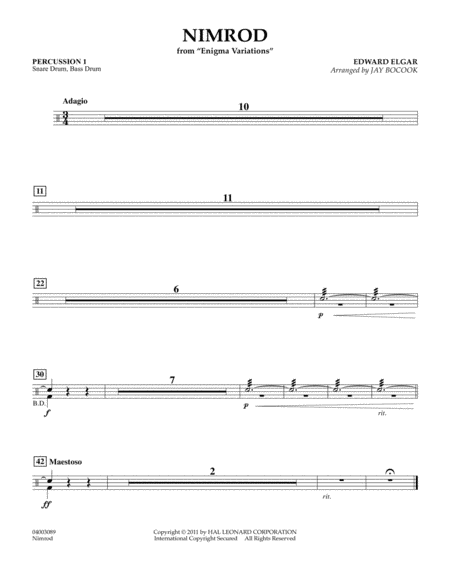 Nimrod (from Enigma Variations) - Percussion 1