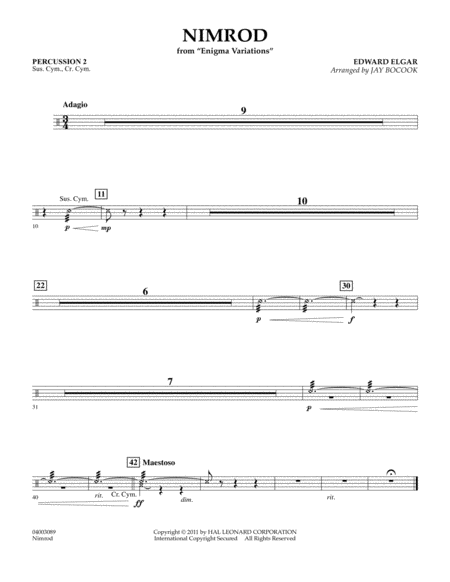 Nimrod (from Enigma Variations) - Percussion 2