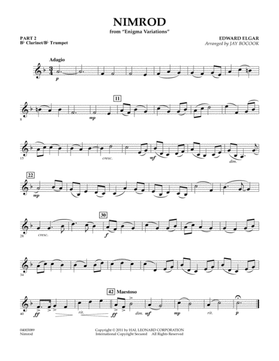 Nimrod (from Enigma Variations) - Pt.2 - Bb Clarinet/Bb Trumpet