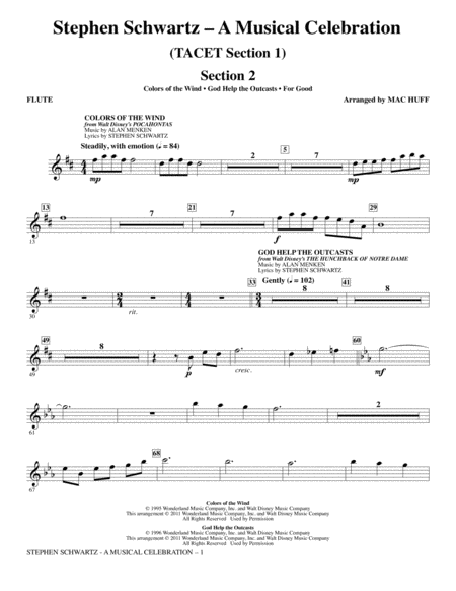 Stephen Schwartz: A Musical Celebration (Medley) - Flute