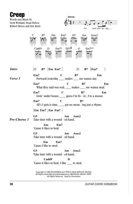 Download Creep Sheet Music By Stone Temple Pilots Sheet Music Plus