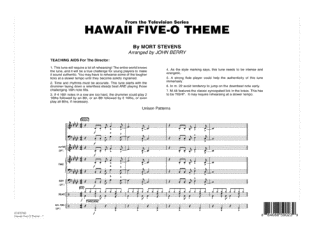 Hawaii Five-O Theme - Full Score
