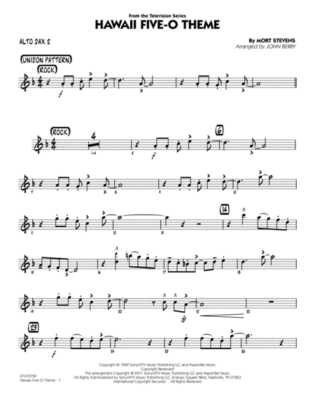 Hawaii Five-O Theme - Alto Sax 2