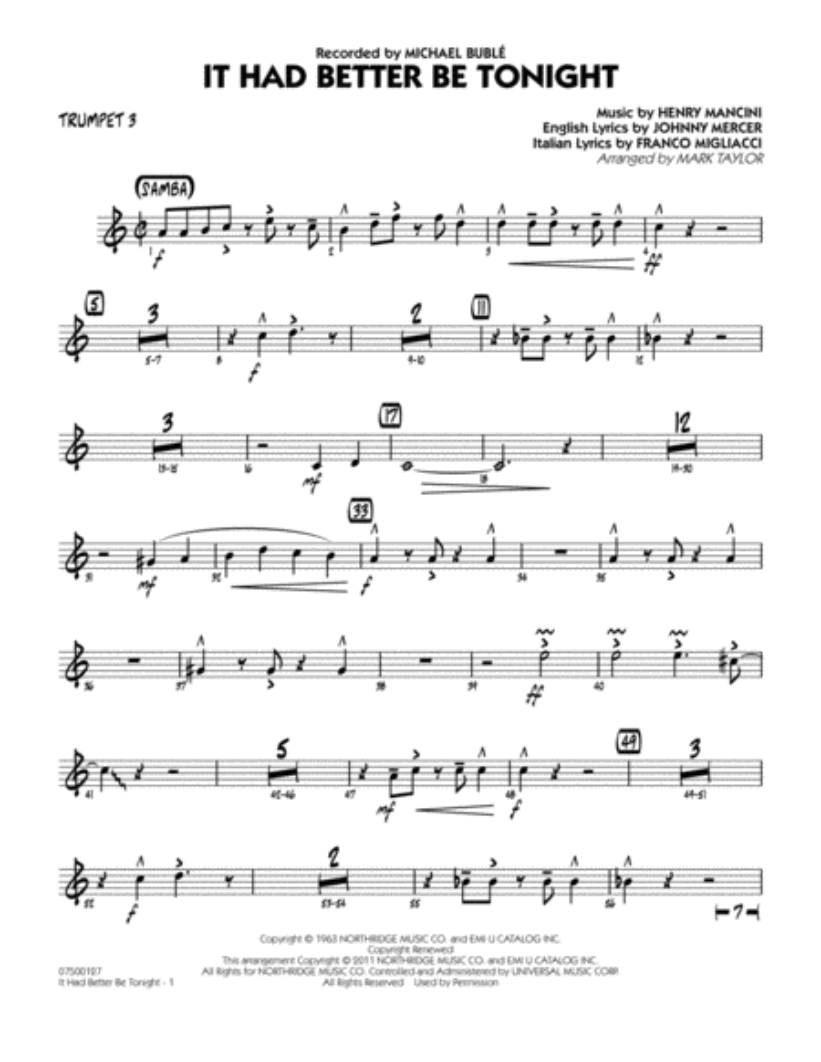 It Had Better Be Tonight - Trumpet 3