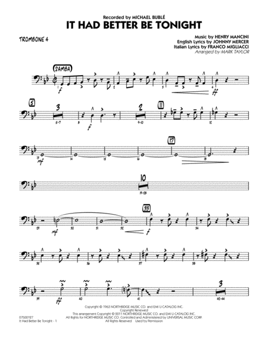 It Had Better Be Tonight - Trombone 4