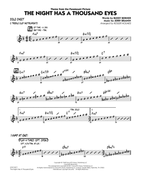 The Night Has A Thousand Eyes - C Solo Sheet