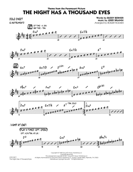 The Night Has A Thousand Eyes - Eb Solo Sheet