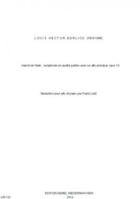 Harold en Italie : symphonie en quatre parties avec un alto principal, opus 16 (Edition alto/piano)