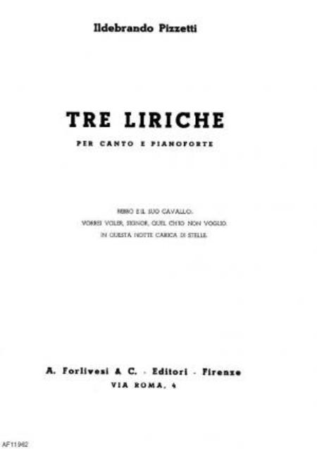Tre liriche : per canto e pianoforte, 1944