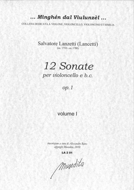 12 Cello Sonatas op. 1 (Paris, senza anno)