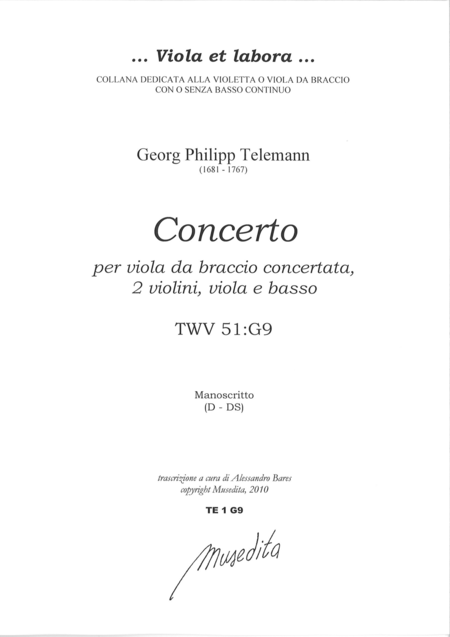 Viola Concerto in G Major (Manuscript, D-DS)