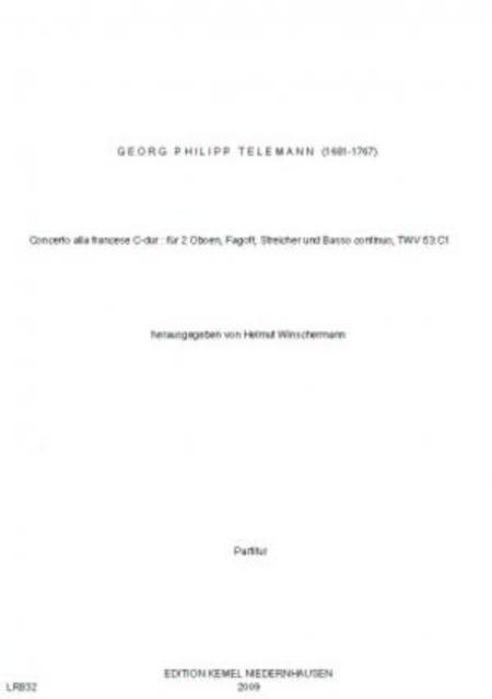 Concerto alla francese D-dur : fur 2 Oboen, Fagott, Streicher und Basso continuo, TWV 53:C1