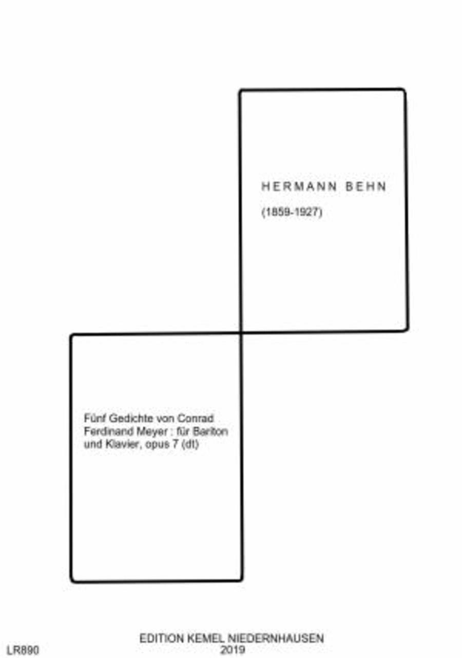 Funf Gedichte von Conrad Ferdinand Meyer : fur eine Baritonstimme mit Begleitung des Pianoforte, opus 7