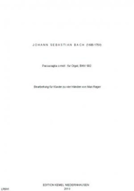Passacaglia c-moll : fur Klavier zu vier Handen, BWV 582