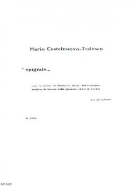 Epigrafe : per pianoforte, 1922