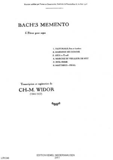 Bach's memento : 6 pieces pour orgue