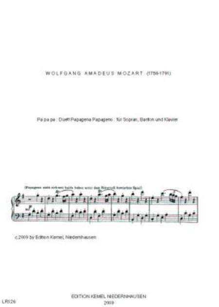 Pa pa pa : Duett Papagena Papageno : fur Sopran, Bariton und Klavier
