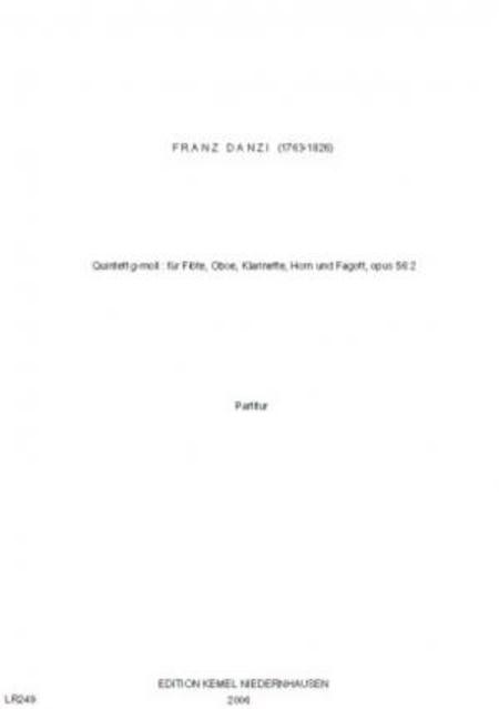 Quintett g-moll : fur Flote, Oboe, Klarinette, Horn und Fagott, opus 56:2
