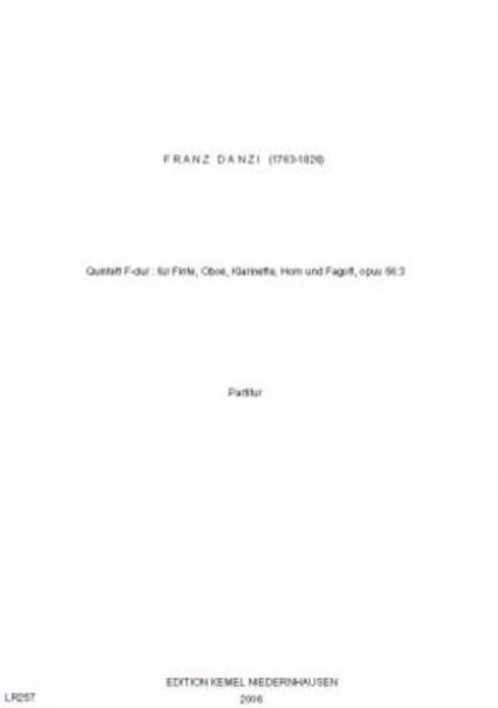 Quintett F-dur : fur Flote, Oboe, Klarinette, Horn und Fagott, opus 56:3