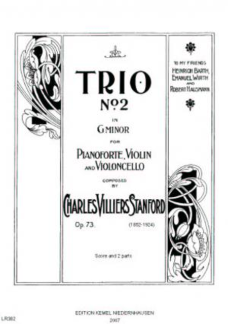 Trio no. 2 in g minor : for pianoforte, violin and violoncello, op. 73, 1899