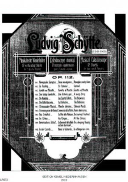 Musikalische Wandelbilder : 12 vierhandige Stucke fur gleiche Spieler, op. 112