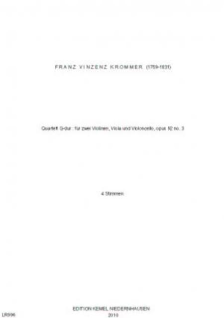 Quartett G-dur : fur zwei Violinen, Viola und Violoncello, opus 92 no. 3