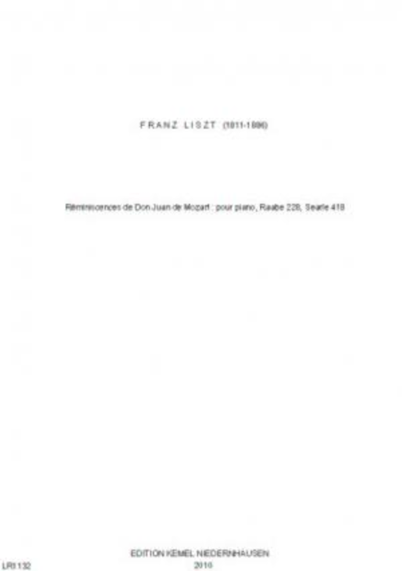 Reminiscences de Don Juan de Mozart : pour piano, Raabe 228, Searle 418
